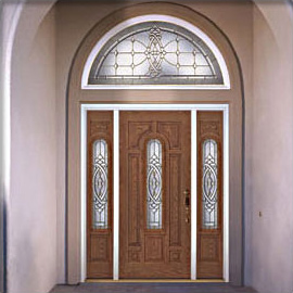 front entry doors with arch top transom and side-lite inserts