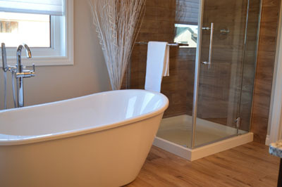 free standing tub - fresh and clean bathroom interior