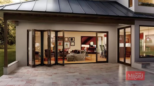 Milgard Moving Glass Wall Systems - bi-fold glass door panels