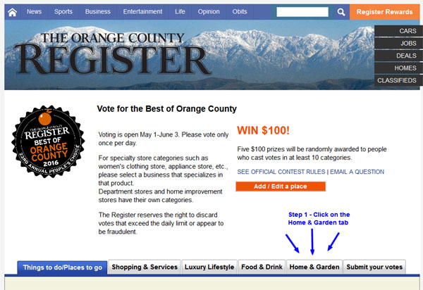 Step 1 - Best of OC - Vote for the Best of Orange County 2016 - A New View Windows & Doors Anaheim