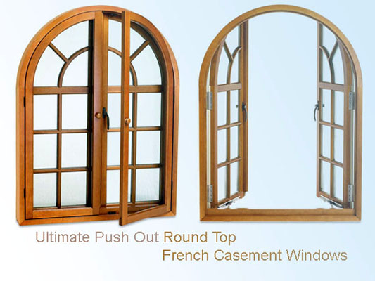 Arch Top Windows - Marvin Push Out Round Top French Casement Windows